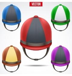 Set of classic jockey helmets vector