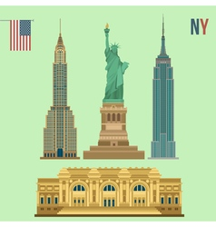 Set of New York Famous Buildings vector image vector image
