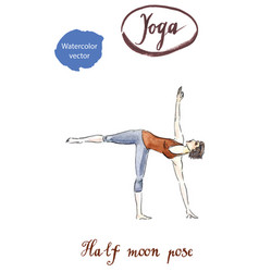 sporty yoga girl in ardha chandrasana vector image