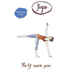 Sporty yoga girl in ardha chandrasana vector