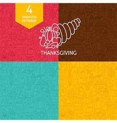 Thin Line Thanksgiving Day Holiday Patterns Set vector image