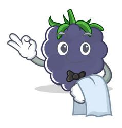 Waiter blackberry character cartoon style vector