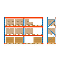 warehouse shelves with boxes storage equipment vector image vector image