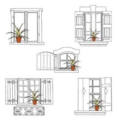 windows set pot vector image