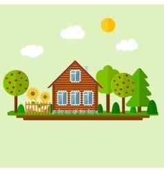 Wooden eco house vector