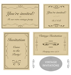 Vintage invitation templates vector image
