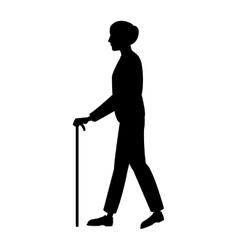 silhouette older man walking stick vector image