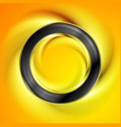 Smooth black ring on bright orange background vector