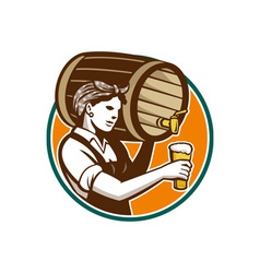 Woman bartender pouring keg barrel beer retro vector