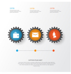 Business icons set collection of envelope work man vector