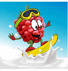 Funny raspberry cartoon surfing on milk splashing vector