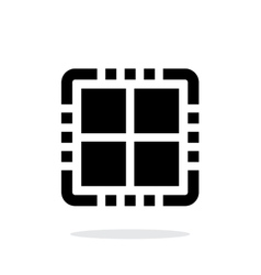 Quad core cpu simple icon on white background vector