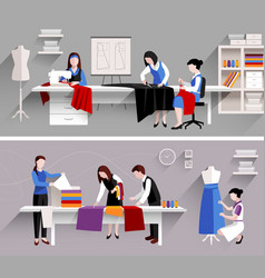 Sewing studio design template vector
