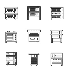 Ovens simple line icons set vector
