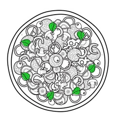 Isolated doodle monochrome pizza with basil on vector