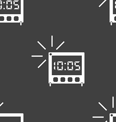 Digital alarm clock icon sign seamless pattern on vector