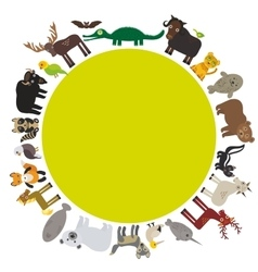 Animal round frame bison bat manatee fox elk vector