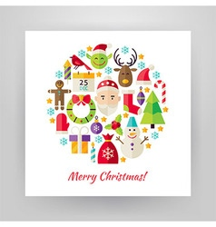 Flat style circle set of merry christmas objects vector