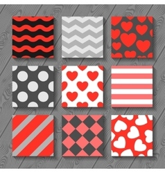 Happy valentines day set of seamless patterns on vector