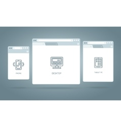 Browser windows responsive web vector