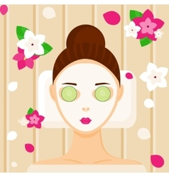 Young woman with facial mask relaxing in spa vector