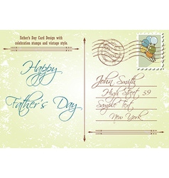 Back of fathers day card in a vintage style vector