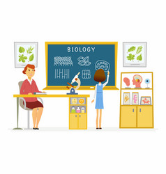 biology lesson at school - modern cartoon people vector image