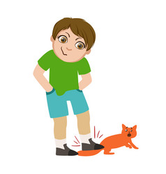 Boy stepping on cats tail part of bad kids vector