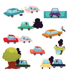 Car crash road accident vehicle collision set vector