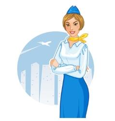 Cartoon young cheerful stewardess eps10 vector image