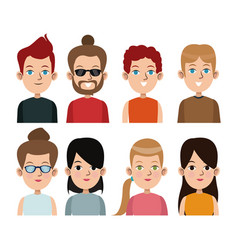 Cartoon young people community portrait differents vector