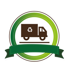 circular emblem with recycling truck and ribbon vector image