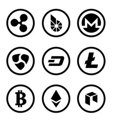 Cryptocurrency or virtual currencies black icon vector