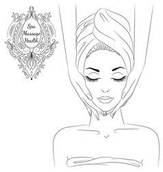 face massage line art vector image vector image