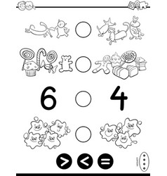 Greater less or equal game coloring book vector