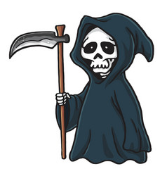 Grim reaper cute cartoon skeleton halloween vector