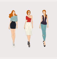 Hand drawn fashion models vector