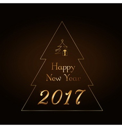 Happy new year background gold rain vector
