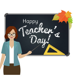 happy teacher day greeting vector image