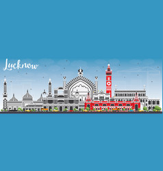 lucknow skyline with gray buildings and blue sky vector image vector image