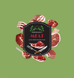Meat butcher shop background poster vector
