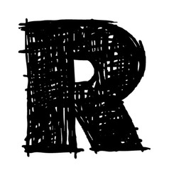R - hand drawn character sketch font vector