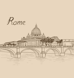 Rome cityscape with st peters basilica italian vector