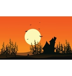 Scenery castle and spruce forest halloween vector