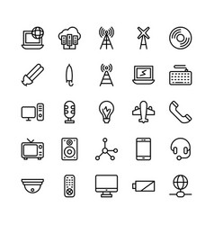 Science and technology line icons 12 vector