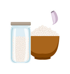Sea salt in a wooden bowl and glass jar colorful vector