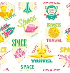 Seamless pattern of cosmic icons vector