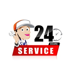 Smile mechanic man with tool in hand service 24 vector