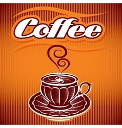 stylized cup of coffee on an abstract background vector image