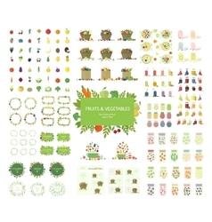 Vegan set of food bags frames logos vector